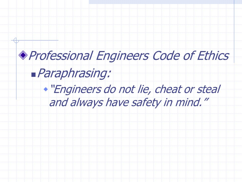Professional Engineers Code of Ethics Paraphrasing: