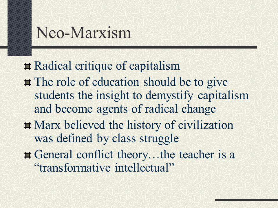 Neo-Marxism Radical critique of capitalism