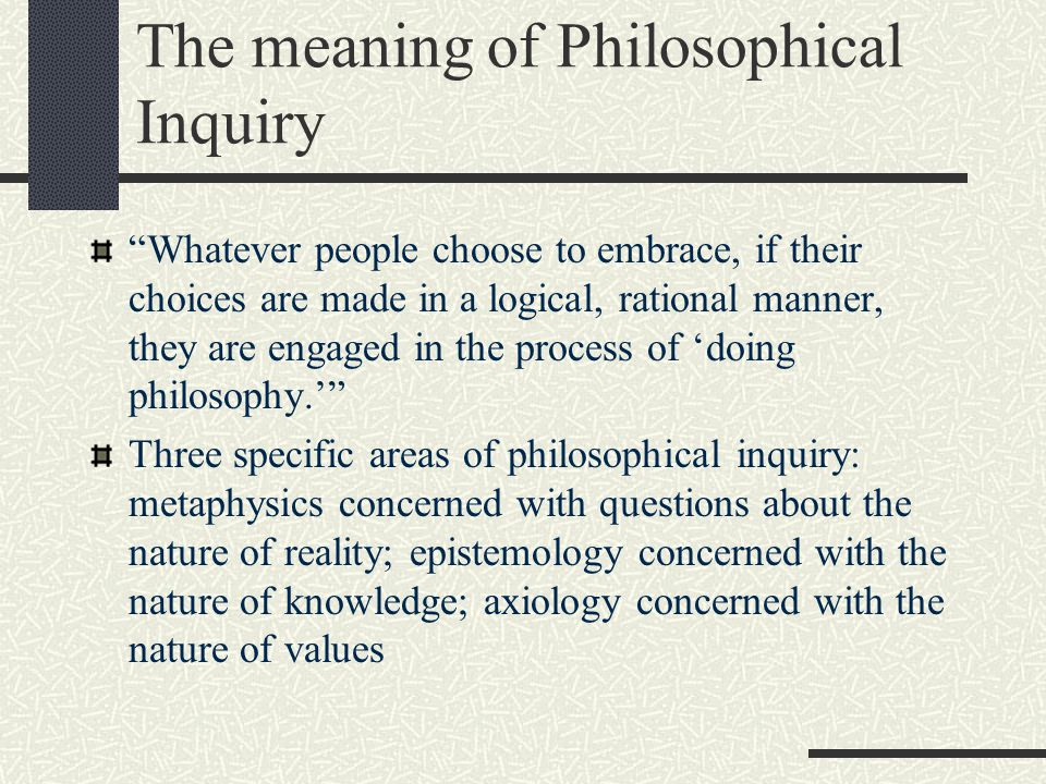 The meaning of Philosophical Inquiry