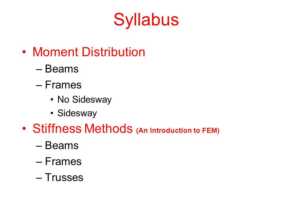 Syllabus Moment Distribution