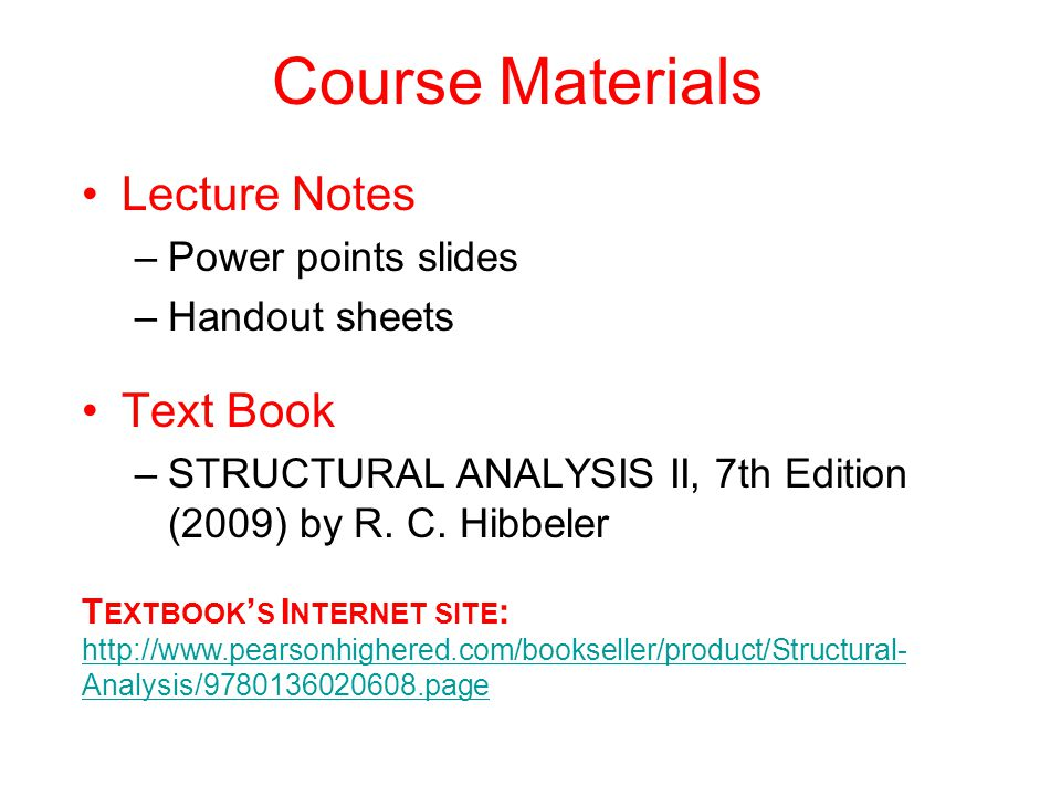 Course Materials Lecture Notes Text Book Power points slides