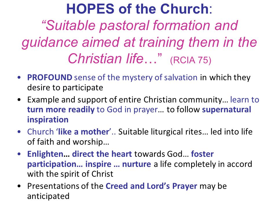 HOPES of the Church: Suitable pastoral formation and guidance aimed at training them in the Christian life… (RCIA 75)