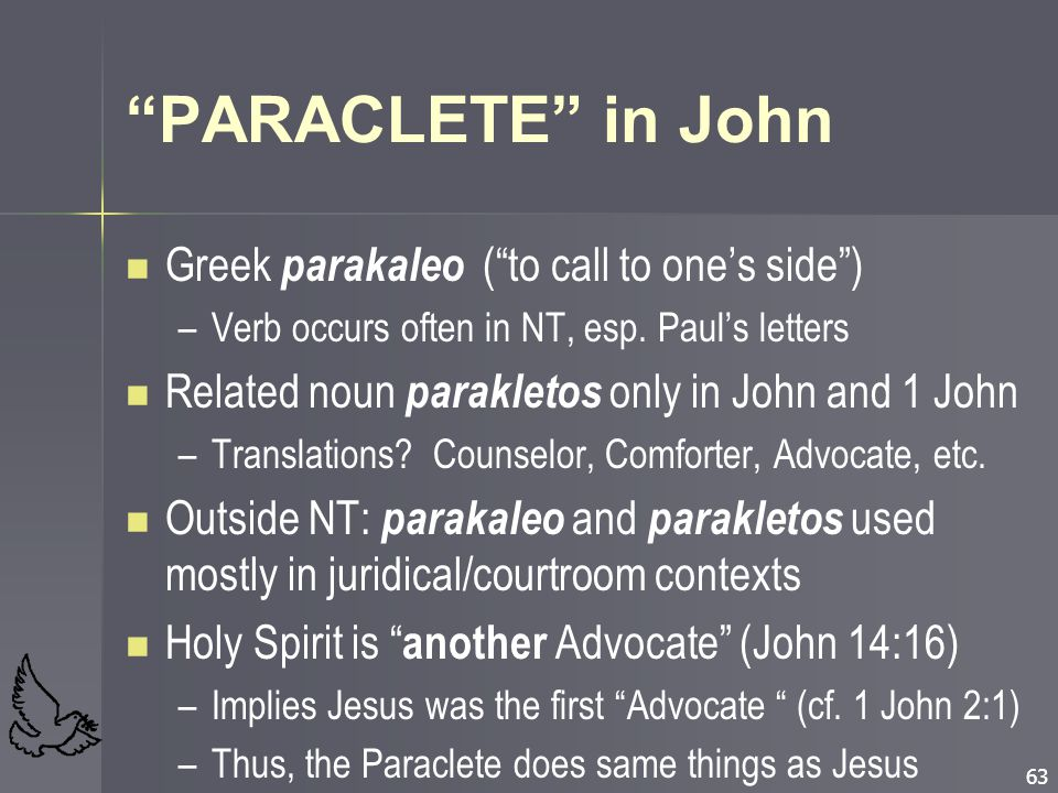 PARACLETE in John Greek parakaleo ( to call to one's side )