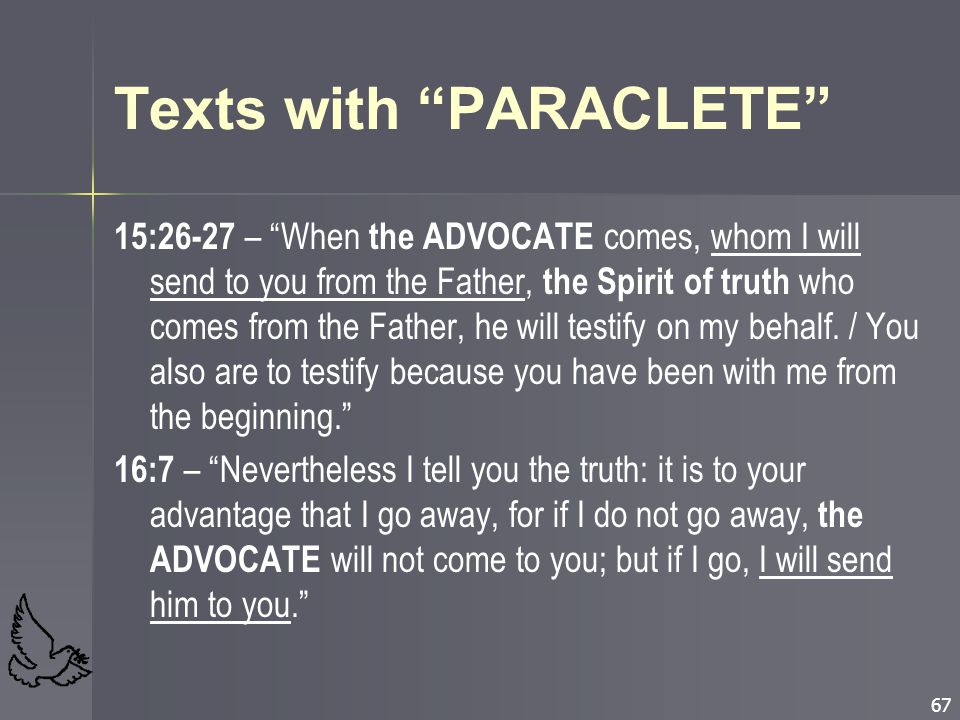 Texts with PARACLETE