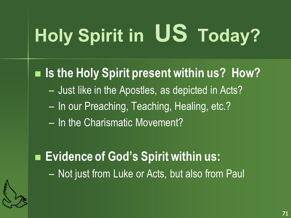 Holy Spirit in US Today Is the Holy Spirit present within us How