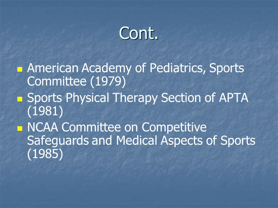 Cont. American Academy of Pediatrics, Sports Committee (1979)