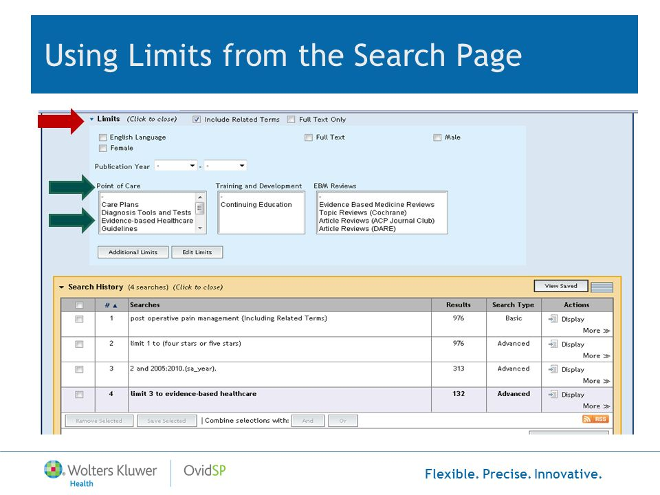 Using Limits from the Search Page