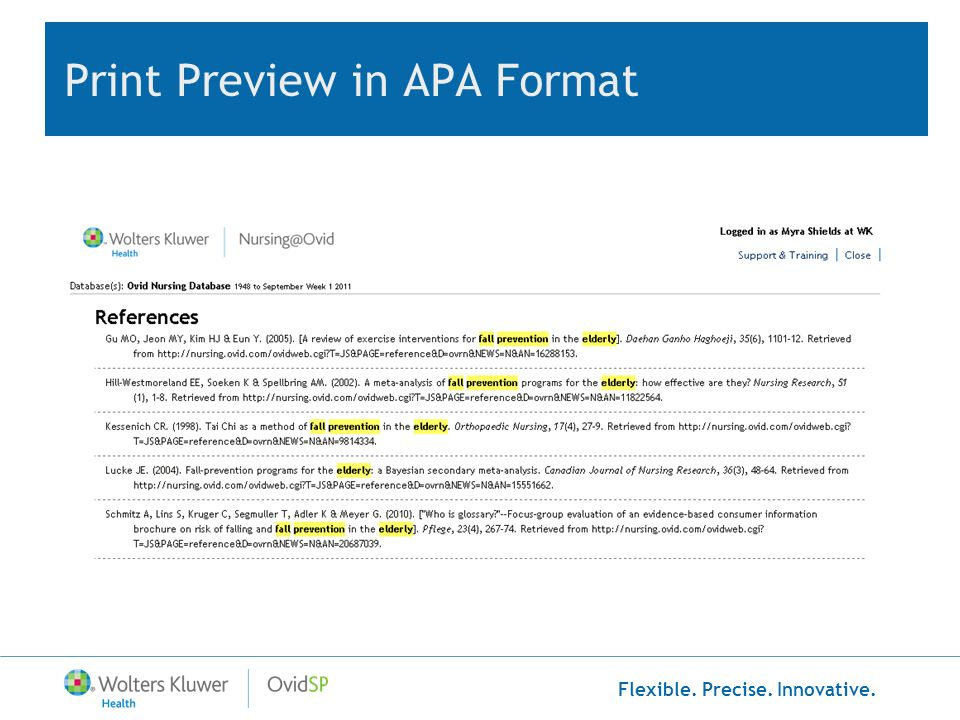 Print Preview in APA Format