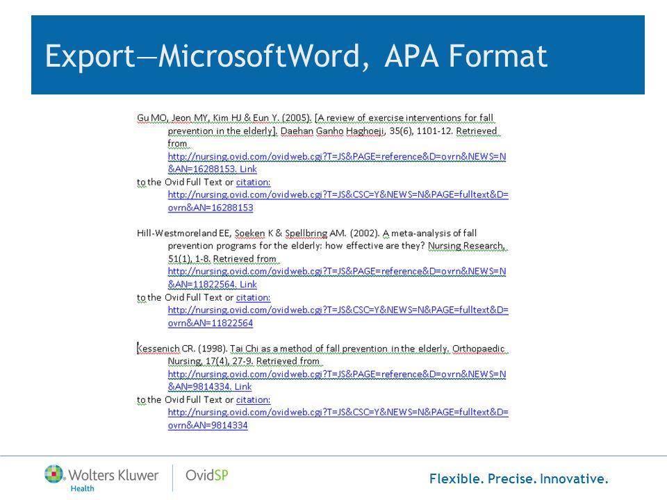 Export—MicrosoftWord, APA Format