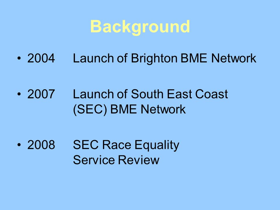 Background 2004 Launch of Brighton BME Network