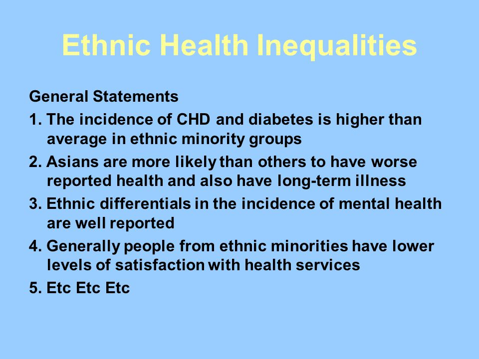 Ethnic Health Inequalities