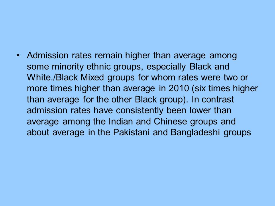 Admission rates remain higher than average among some minority ethnic groups, especially Black and White./Black Mixed groups for whom rates were two or more times higher than average in 2010 (six times higher than average for the other Black group).