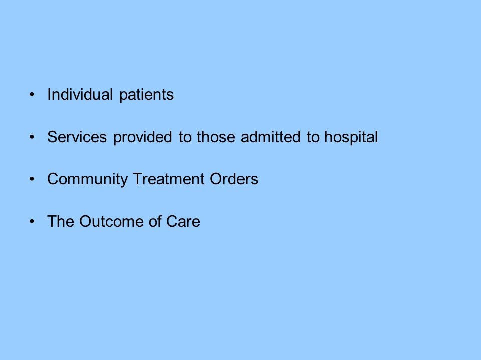 Individual patients Services provided to those admitted to hospital.