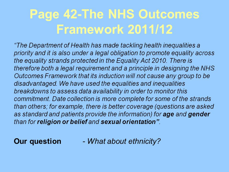 Page 42-The NHS Outcomes Framework 2011/12