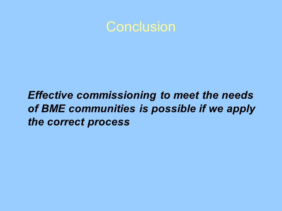 Conclusion Effective commissioning to meet the needs of BME communities is possible if we apply the correct process.