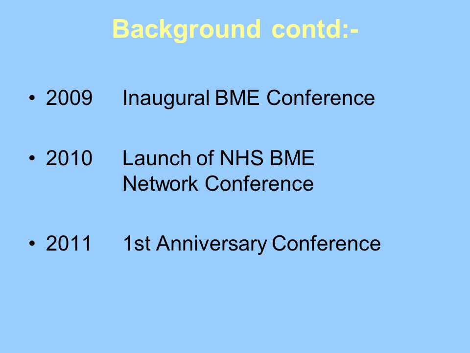 Background contd:- 2009 Inaugural BME Conference