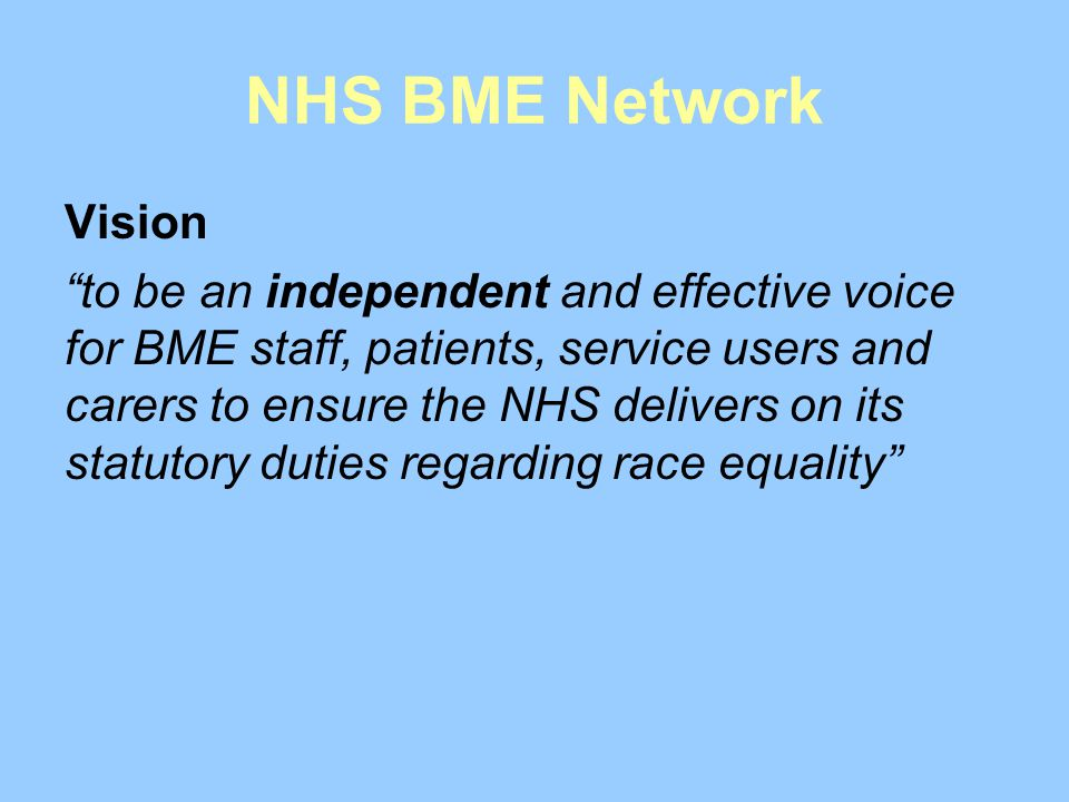 NHS BME Network Vision.