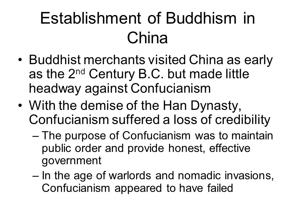 Establishment of Buddhism in China