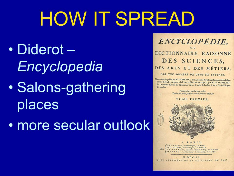 HOW IT SPREAD Diderot – Encyclopedia Salons-gathering places