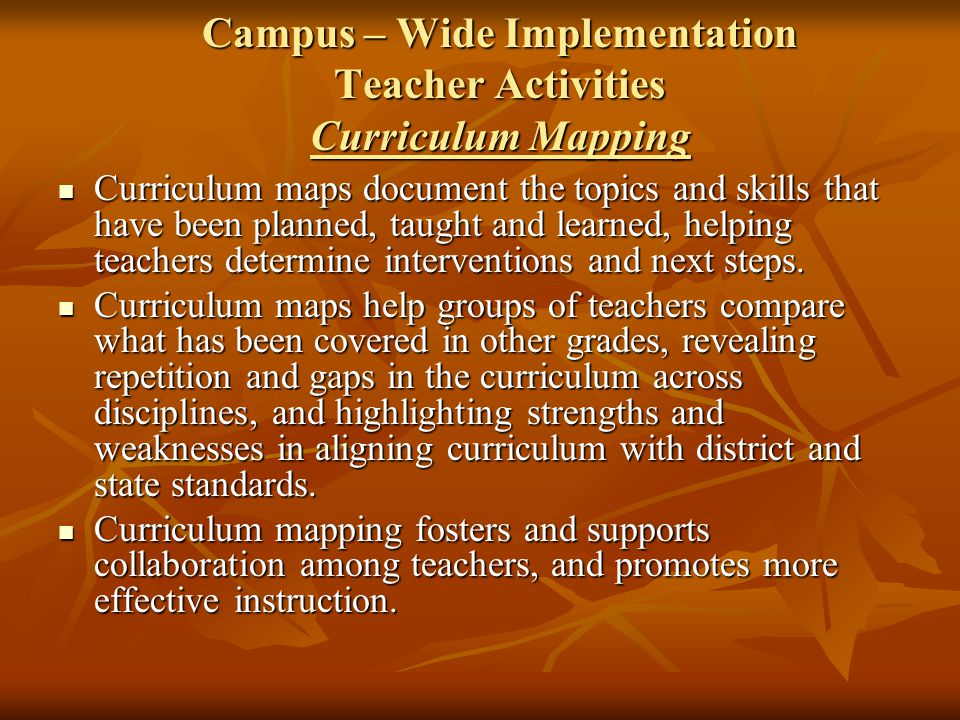 Campus – Wide Implementation Teacher Activities Curriculum Mapping