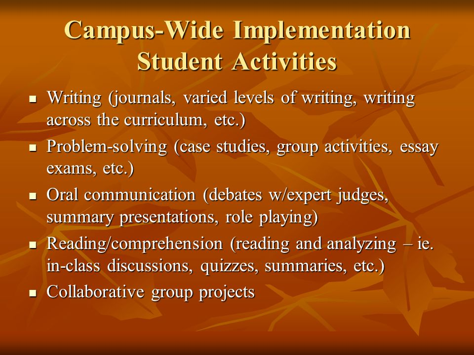 Campus-Wide Implementation Student Activities