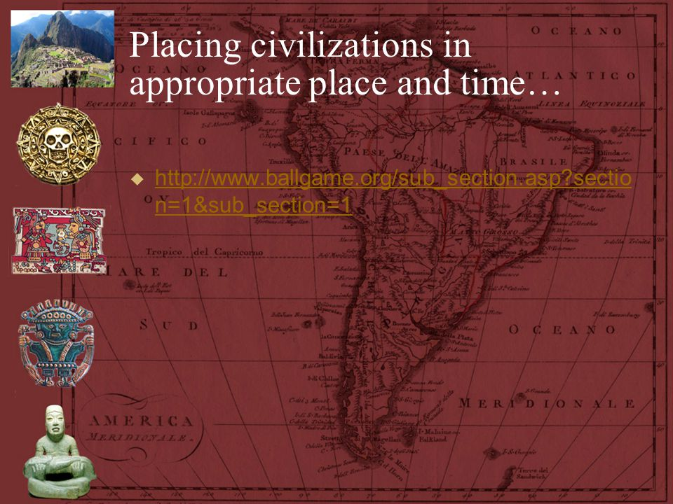 Placing civilizations in appropriate place and time…