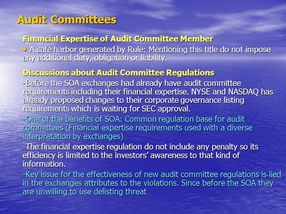 Audit Committees Financial Expertise of Audit Committee Member