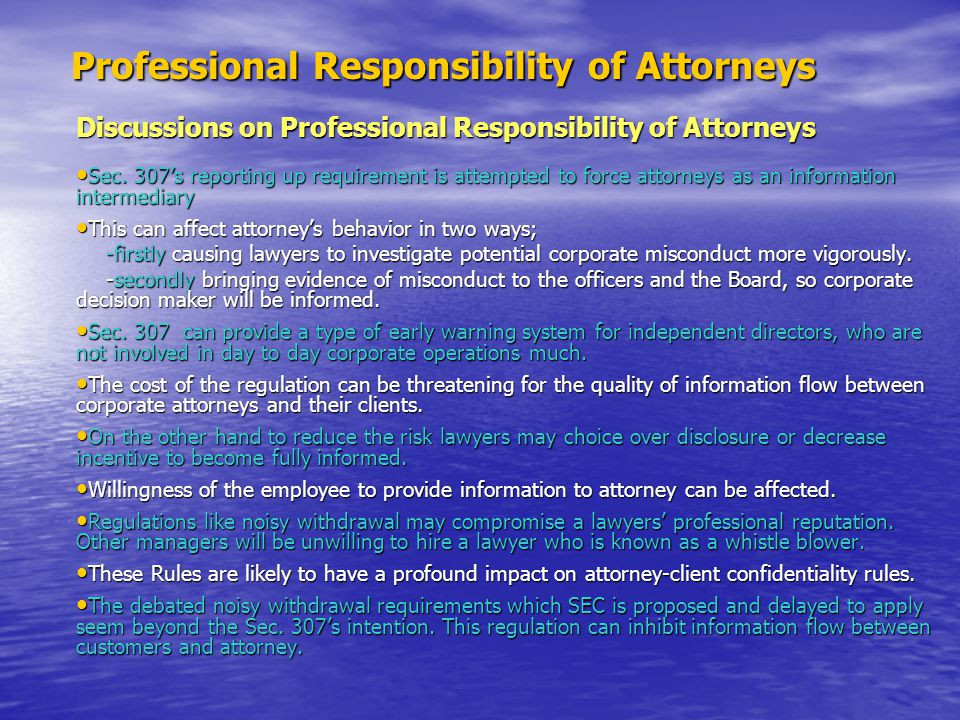 Professional Responsibility of Attorneys
