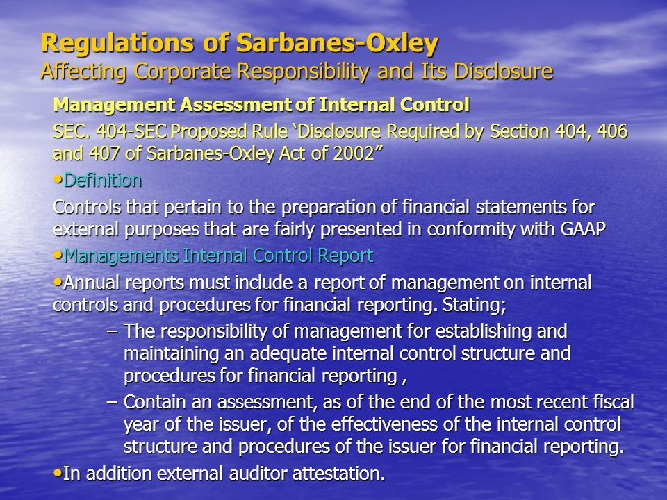 evaluation of the sarbanes oxley act Effects of sarbanes-oxley act 1957 words | 8 pages abstract this paper provides an in-depth evaluation of sarbanes-oxley act, which is said to be promoted to produce change in the corporate environment, in general, by stressing issues of public accountability and disclosure in the financial operations of business.