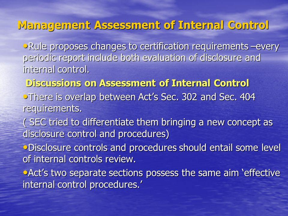 Management Assessment of Internal Control