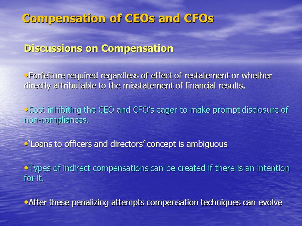 Compensation of CEOs and CFOs