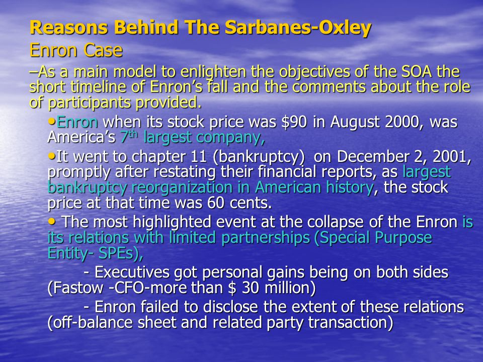 Reasons Behind The Sarbanes-Oxley Enron Case