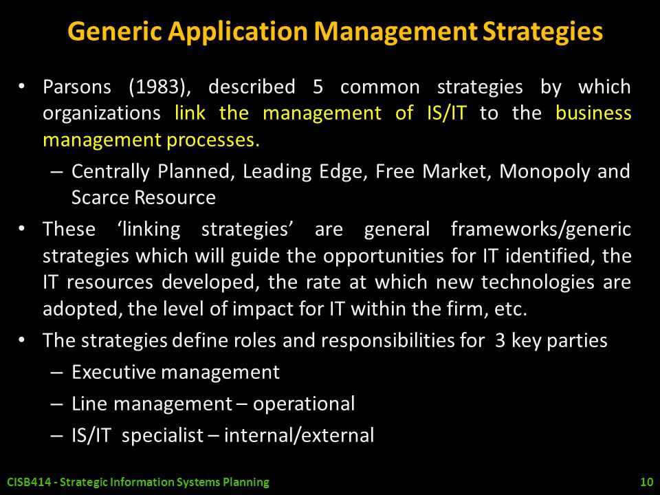 Generic Application Management Strategies