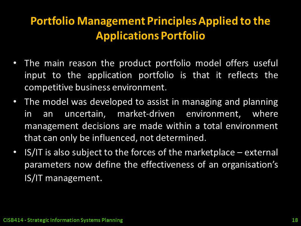 Portfolio Management Principles Applied to the Applications Portfolio