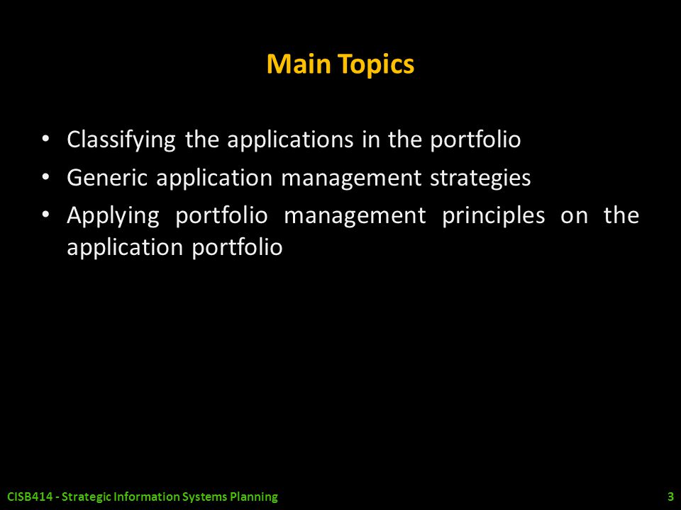 Main Topics Classifying the applications in the portfolio