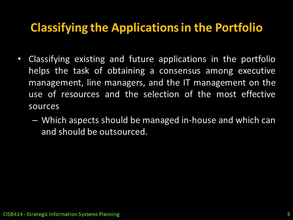 Classifying the Applications in the Portfolio