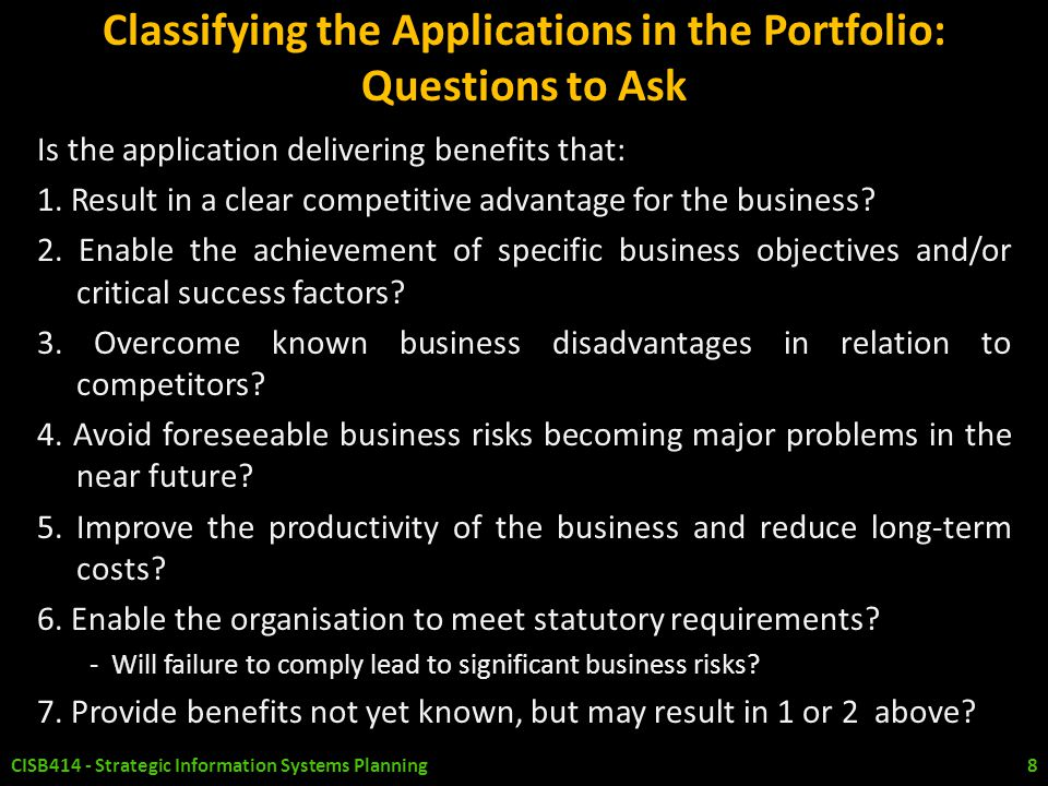 Classifying the Applications in the Portfolio: Questions to Ask