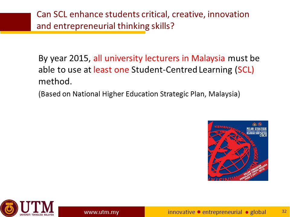 Can SCL enhance students critical, creative, innovation and entrepreneurial thinking skills