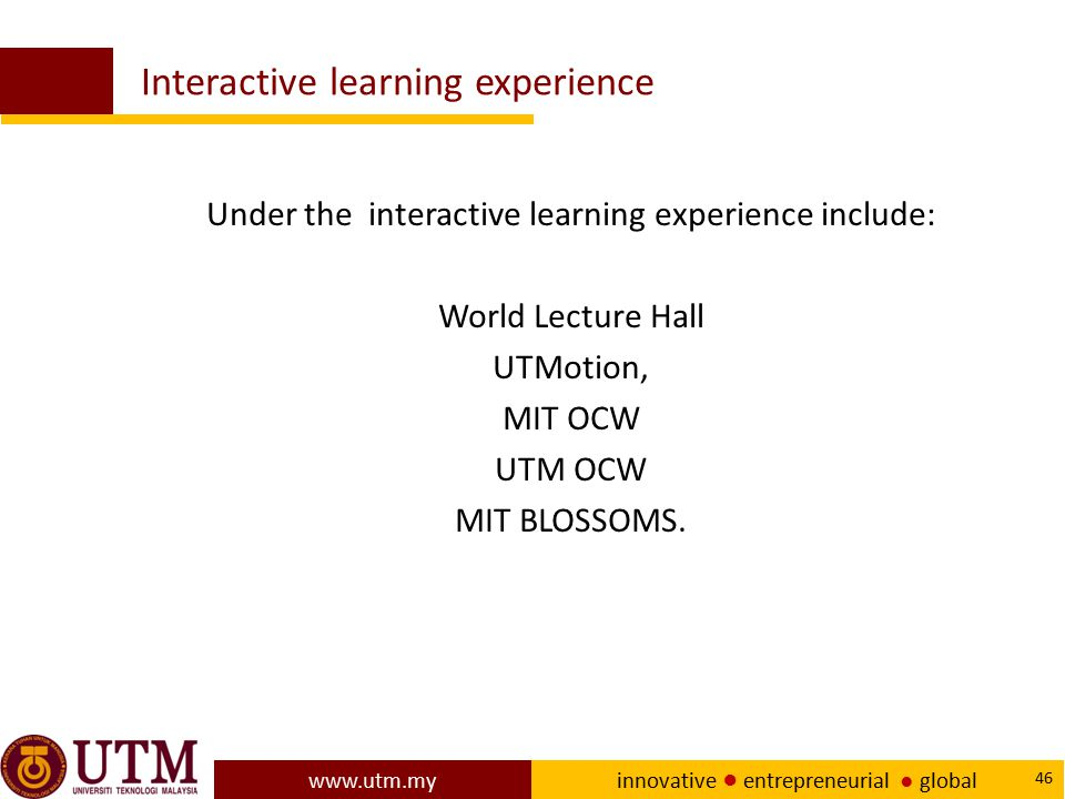 Interactive learning experience