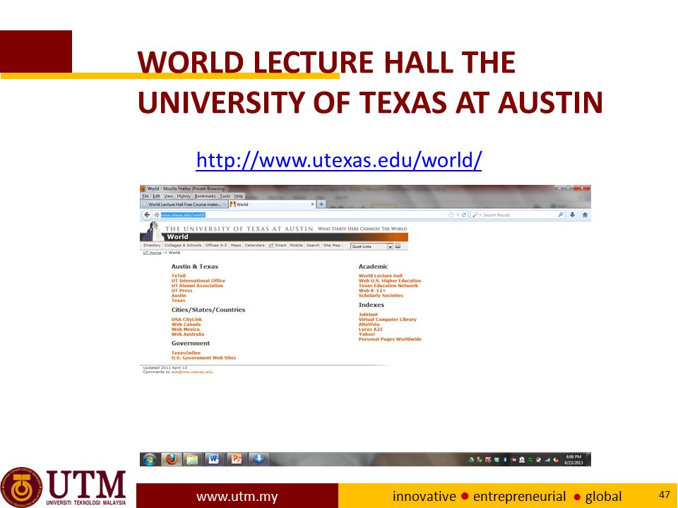 WORLD LECTURE HALL THE UNIVERSITY OF TEXAS AT AUSTIN