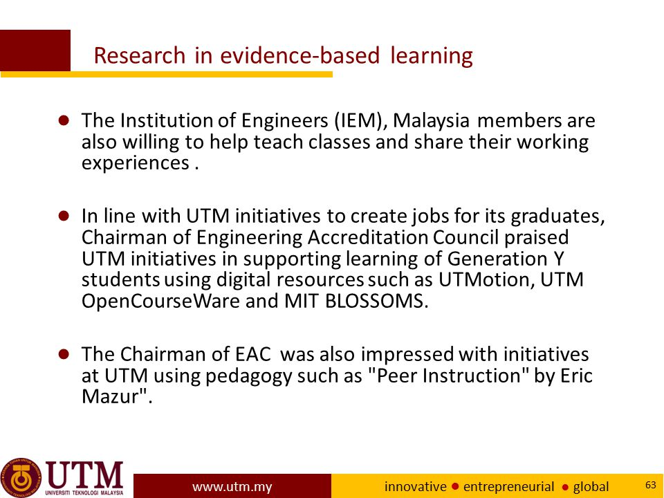 Research in evidence-based learning