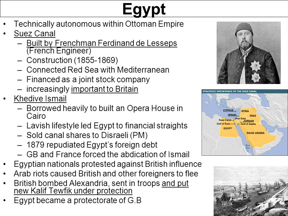 Egypt Technically autonomous within Ottoman Empire Suez Canal