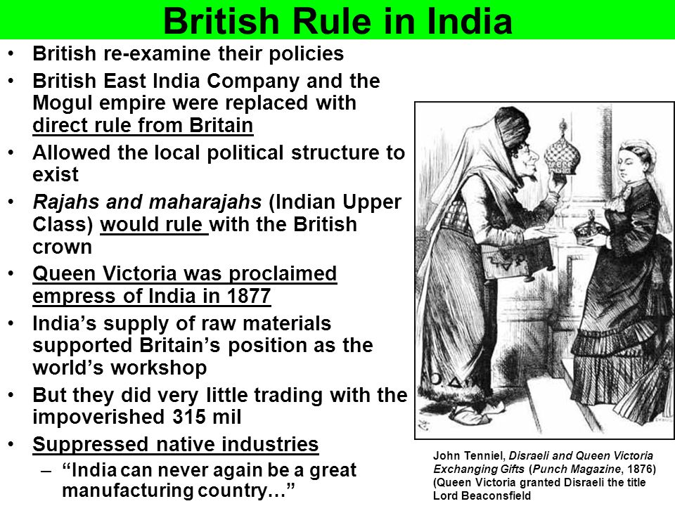 British Rule in India British re-examine their policies