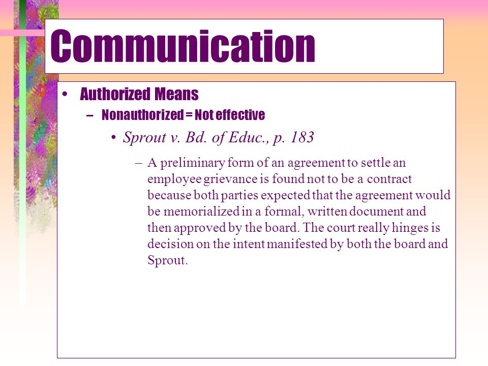 Communication Authorized Means Sprout v. Bd. of Educ., p. 183
