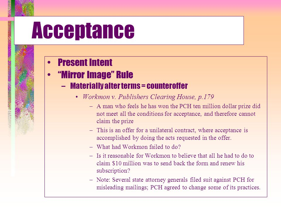 Acceptance Present Intent Mirror Image Rule
