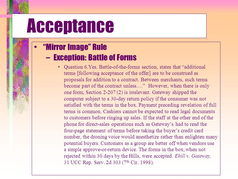 Acceptance Mirror Image Rule Exception: Battle of Forms