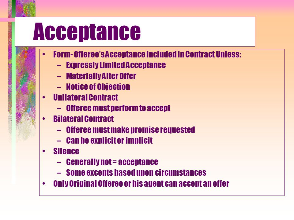 Creating a Contract: Acceptances - ppt download