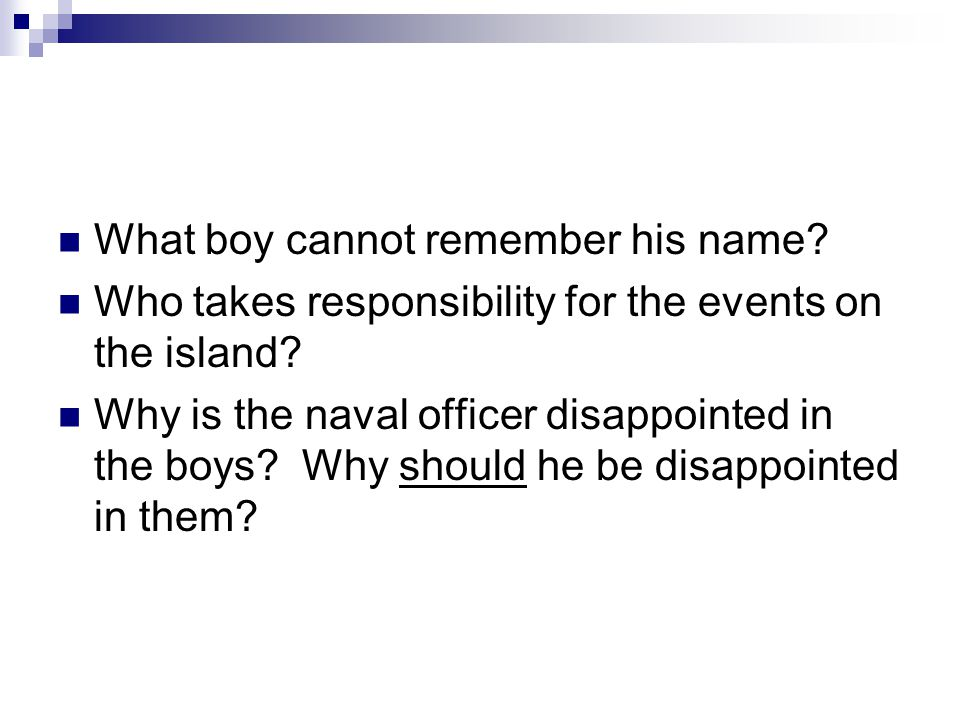 What boy cannot remember his name