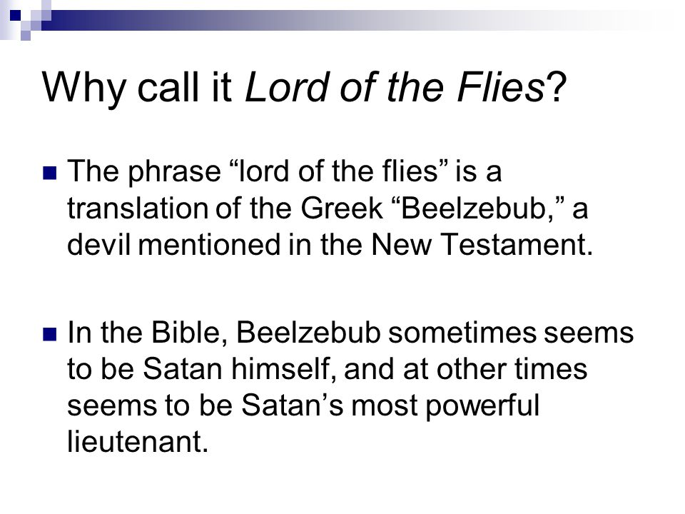 Why call it Lord of the Flies