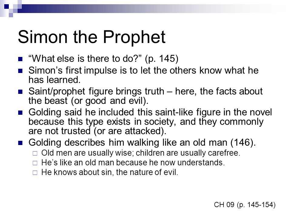 Simon the Prophet What else is there to do (p. 145)